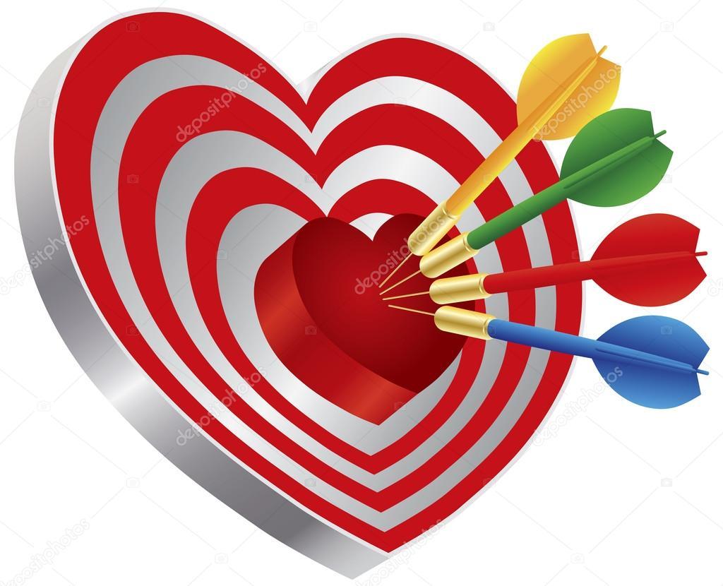 Darts on heart shape bullseye illustration stock vector darts on heart shape bullseye illustration stock vector altavistaventures Image collections