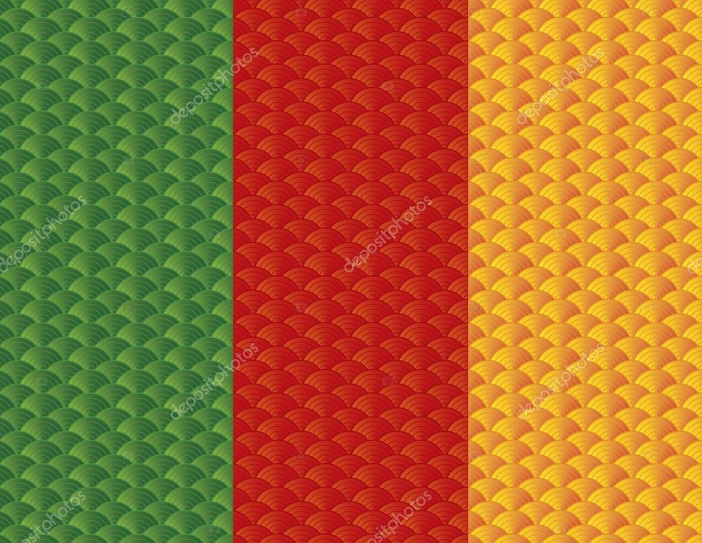 Chinese Japanese Tri Color Fish Scale Pattern — Stock Vector ...