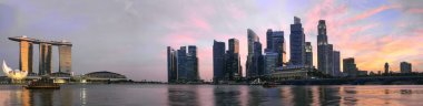 Sunset Over Singapore Skyline Panorama