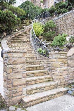 Stone Veneer Facade on Home Exterior Staircase