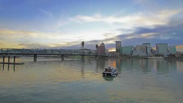 Portland Oregon Cityscape with Hawthorne Bridge, Water Reflection and Fast Moving Clouds at Sunset Timelapse 1920x1080
