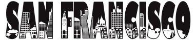 San Francisco City Text Outline Illustration