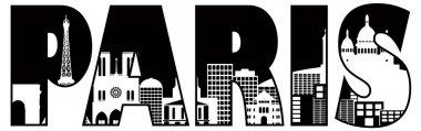 Paris City Skyline Text Outline Illustration