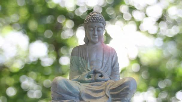 Bronz Buddha faragott szobor hagyományos ülő meditáció jelent ellen csillogó zöld életlen Bokeh elmosódott háttér
