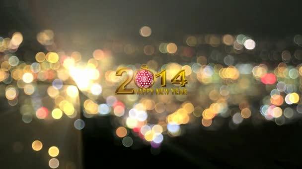 2014 boldog új évet szöveget színes pezsgő város Bokeh és villogó fények háttér piros hópehely dísz