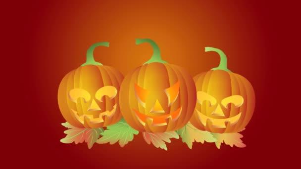 šťastný halloween blikající tealight svíčka lit tančit a skákat vyřezávané dýně s listím na červeném pozadí 1080p