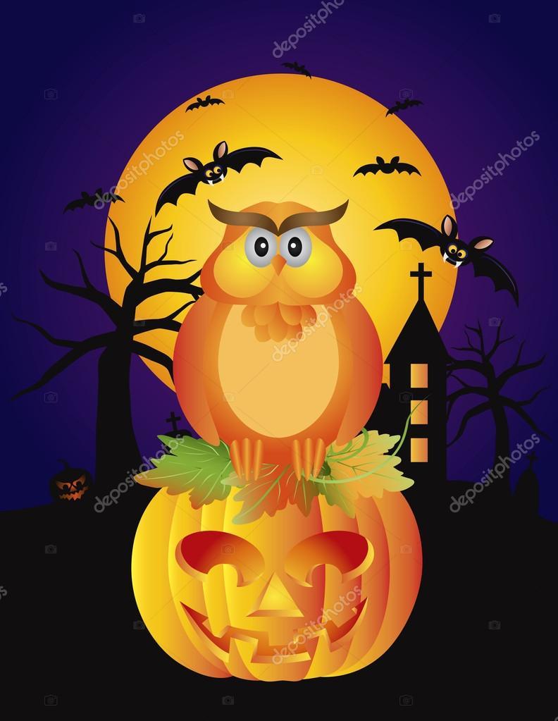 Hibou d 39 halloween citrouille et illustration des chauves souris image vectorielle 32619913 - Citrouille halloween dessin couleur ...