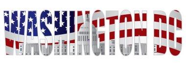 Washington DC Text Outline Capitol US Flag