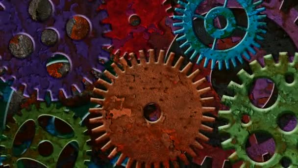 Colorful Rusty Mechanical Gear Parts Rotating and Moving on Grunge Texture Background with Lighting and Shadows 1920x1080