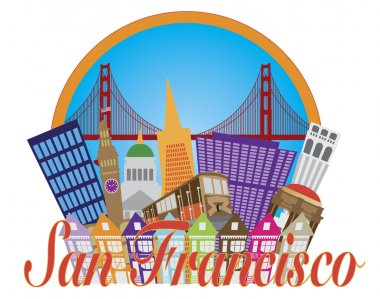 San Francisco Cailfornia Abstract Downtown City Skyline with Golden Gate Bridge and Cable Car Isolated on White Background Illustration stock vector