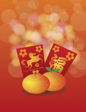 2014 Chinese New Year of the Horse Oranges and Red Packets Backg