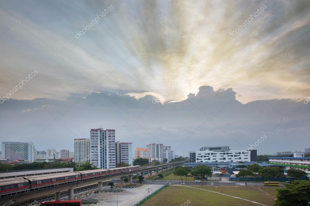 Sunset Over Singapore Housing Estate