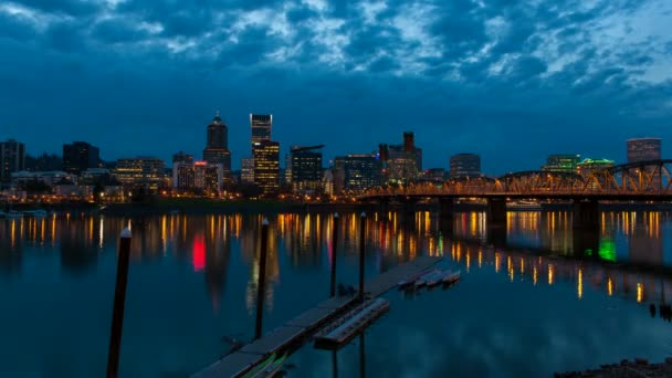 Portland Oregon City Skyline and Hawthorne Bridge along Willamette River with Water Reflection at Blue Hour Time Lapse 1080p