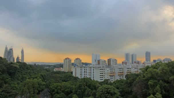 View of Planned Public Housing HDB Apartment Flats and Condominiums Buildings in Singapore at Colorful Sunset with Moving Clouds Time Lapse 1920x1080