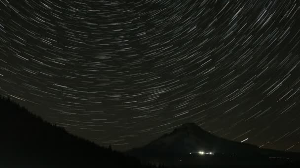 Shooting Stars and Long Star Trails from Perseid Comets in Trillium Lake with Mount Hood in Government Camp Time Lapse 1080p