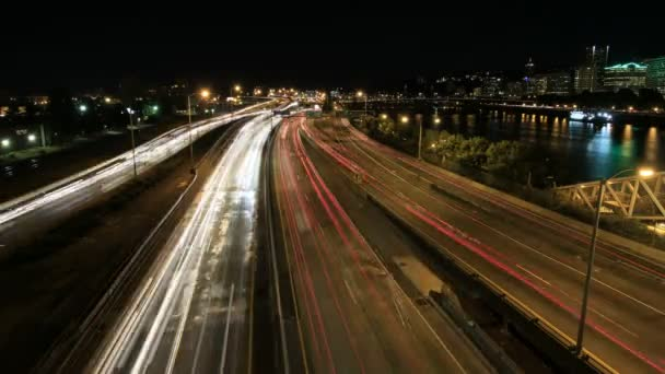 Rush Hour Interstate Freeway Traffic Long Exposure Light Trails in Downtown Portland Oregon with City Skyline Time Lapse 1080p