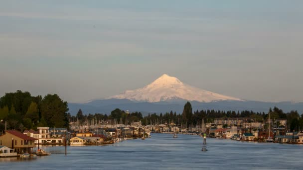Boat Houses and Marina at Hayden Island Along Columbia River with Mt Hood  in Portland Oregon Time Lapse 1080p