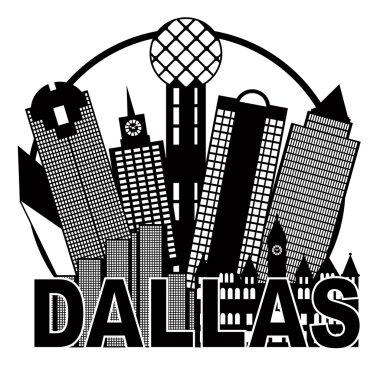 Dallas City Skyline Black and White Circle Illustration