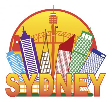 Sydney Australia Skyline Circle Color Illustration
