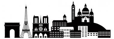 Paris City Skyline Silhouette Black and White Illustration