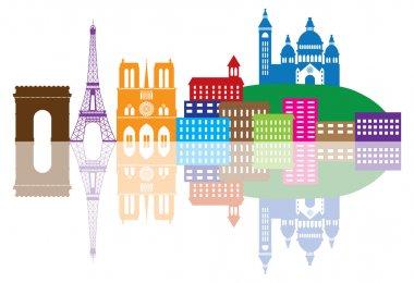 Paris City Skyline Silhouette Color Illustration