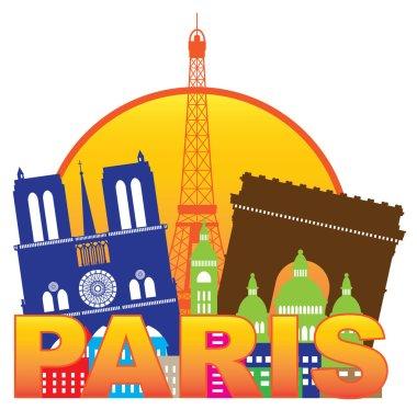 Paris City Skyline Silhouette Circle Color Illustration