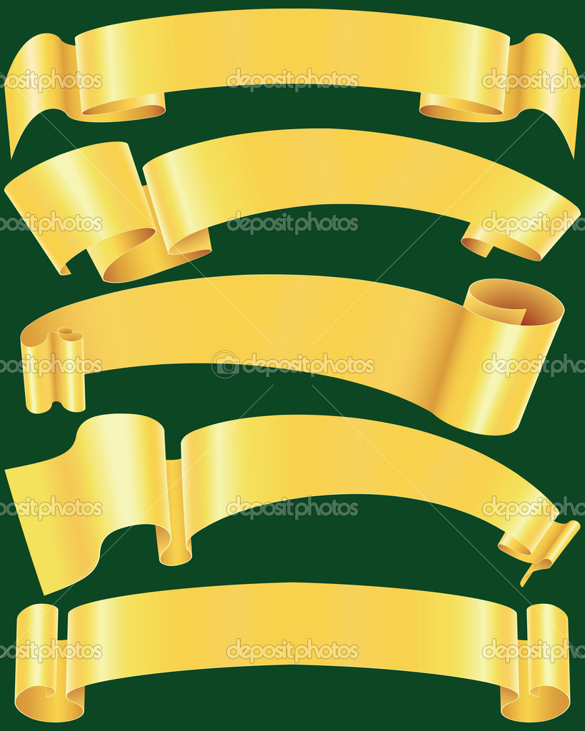 Ragged gold banners set(vector, CMYK) — Stock Vector © ippon