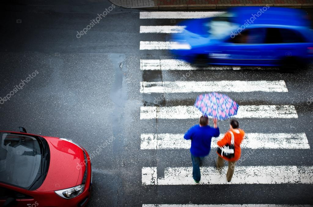 pedestrian crossing with car