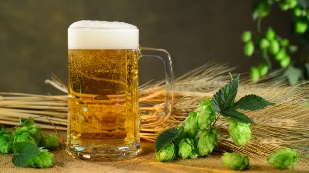 stoupající bubliny v pivní sklenice s chmelem