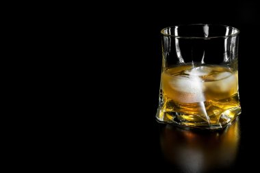 glass of whiskey with ice with space for text