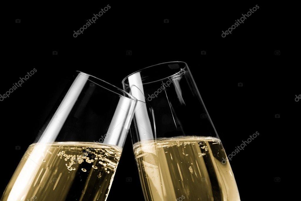 une paire de fl tes champagne avec des bulles d 39 or sur. Black Bedroom Furniture Sets. Home Design Ideas