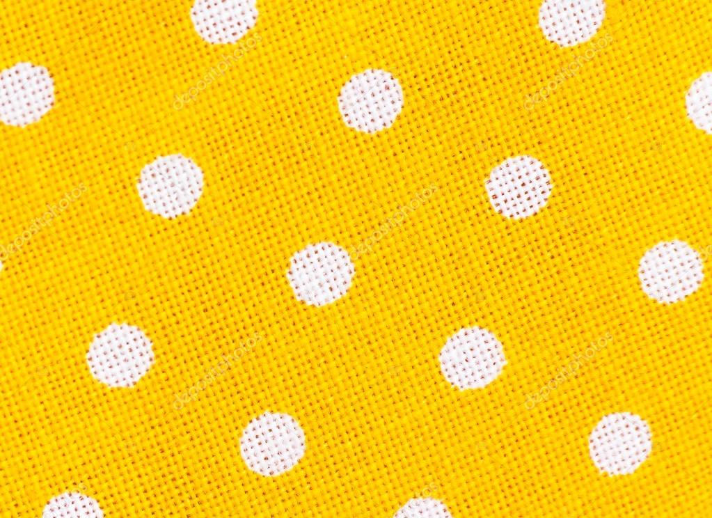 yellow fabric texture with white polka dots — Stock Photo ...
