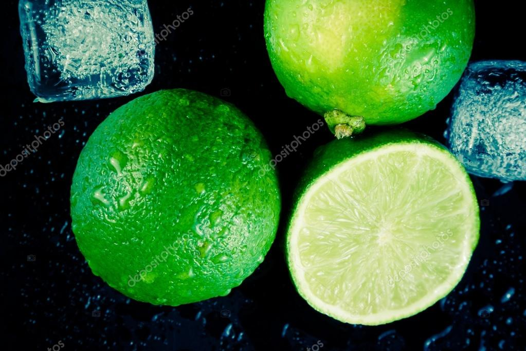 top of view of fresh lime with ice cubes