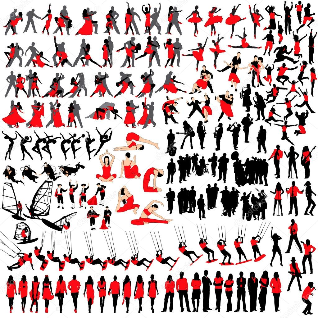 Over 150 people silhouettes