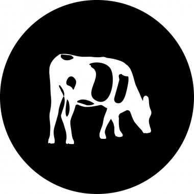 Sign of grazing cows in red on a white background. stock vector