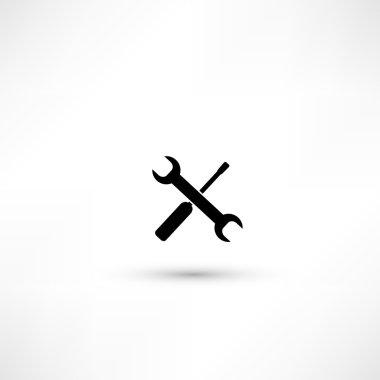 Wrench and screwdriver. Repair workshop emblem - vector illustra