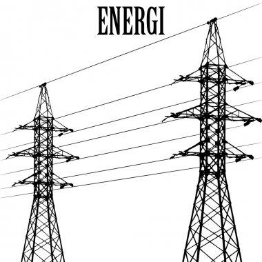 High voltage power pole line vector