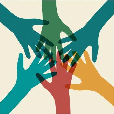 Team symbol. Multicolored hands