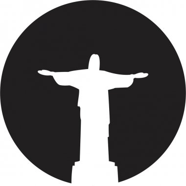 Silhouette of a statue to Jesus Christ in Rio de Janeiro clip art vector