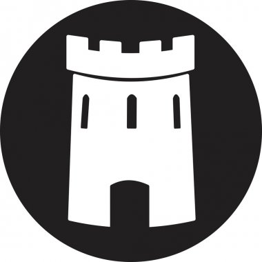 Medieval castle tower vector icon