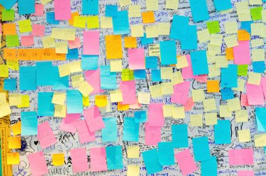 Bangkok - June 9: Colorful Post It Notes with suggestions on the
