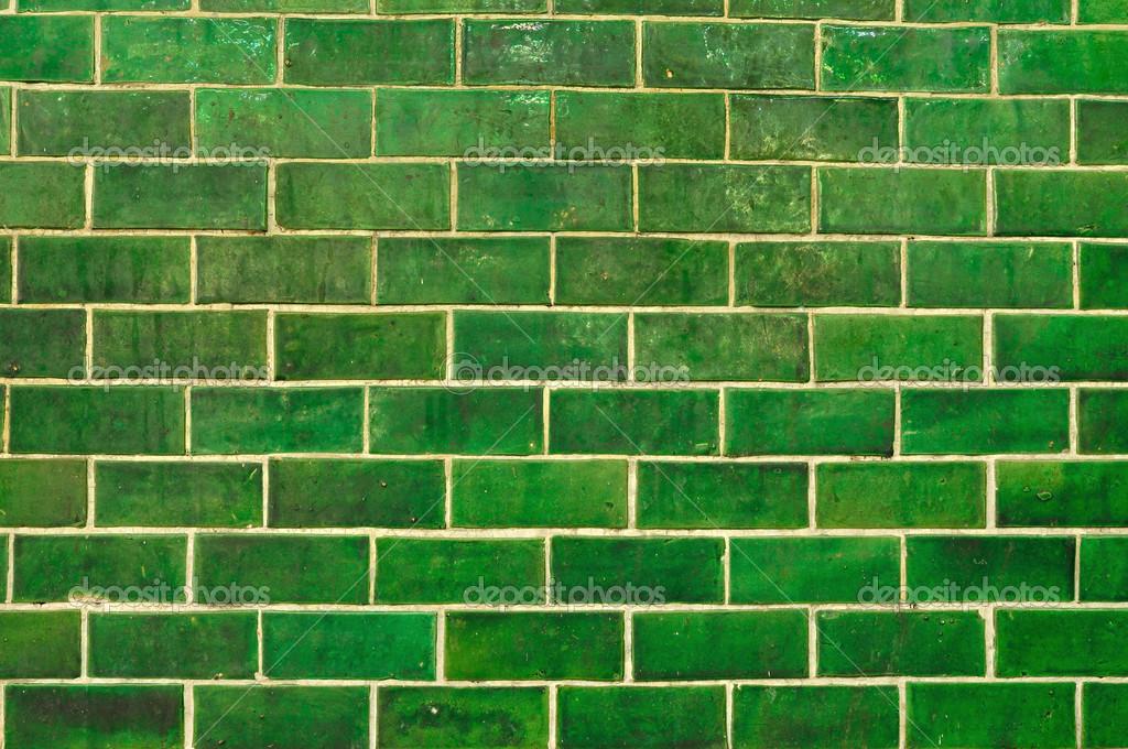 Pared de ladrillo verde grunge foto de stock - Paredes en verde ...