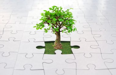 Jigsaw puzzle tree