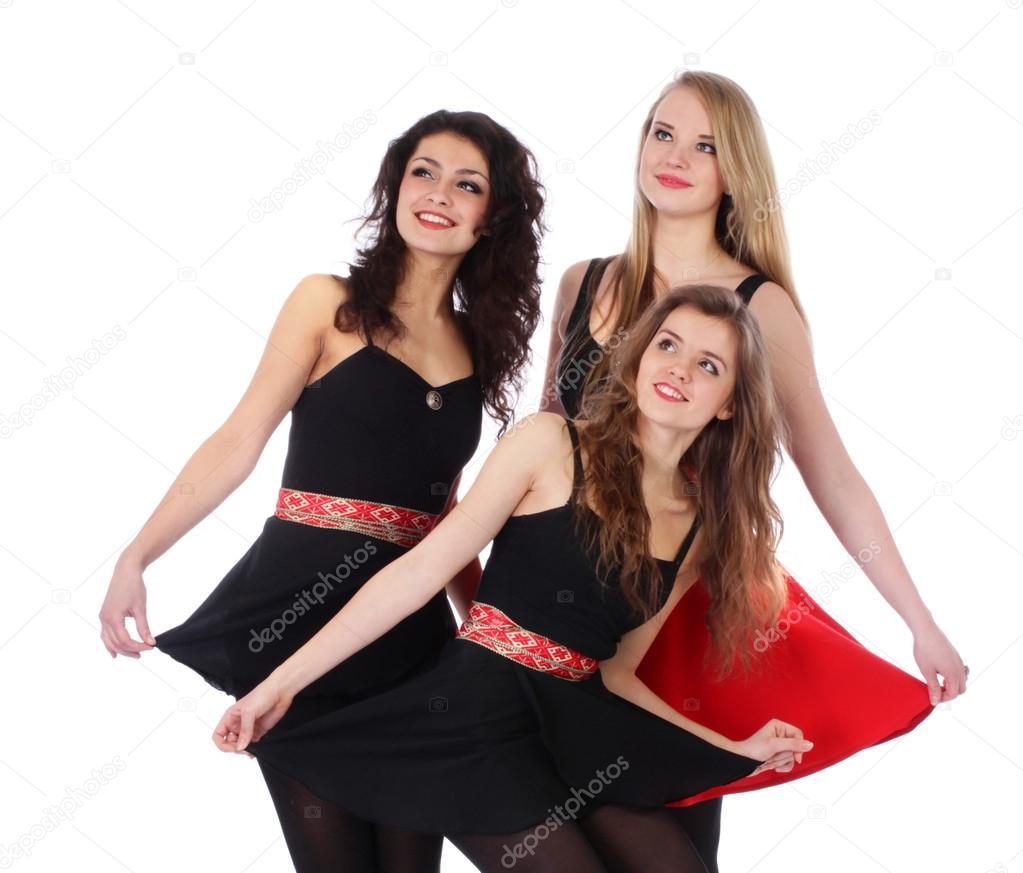 Grupo de tres mujeres guapas putas