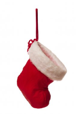 isolated red christmas stocking