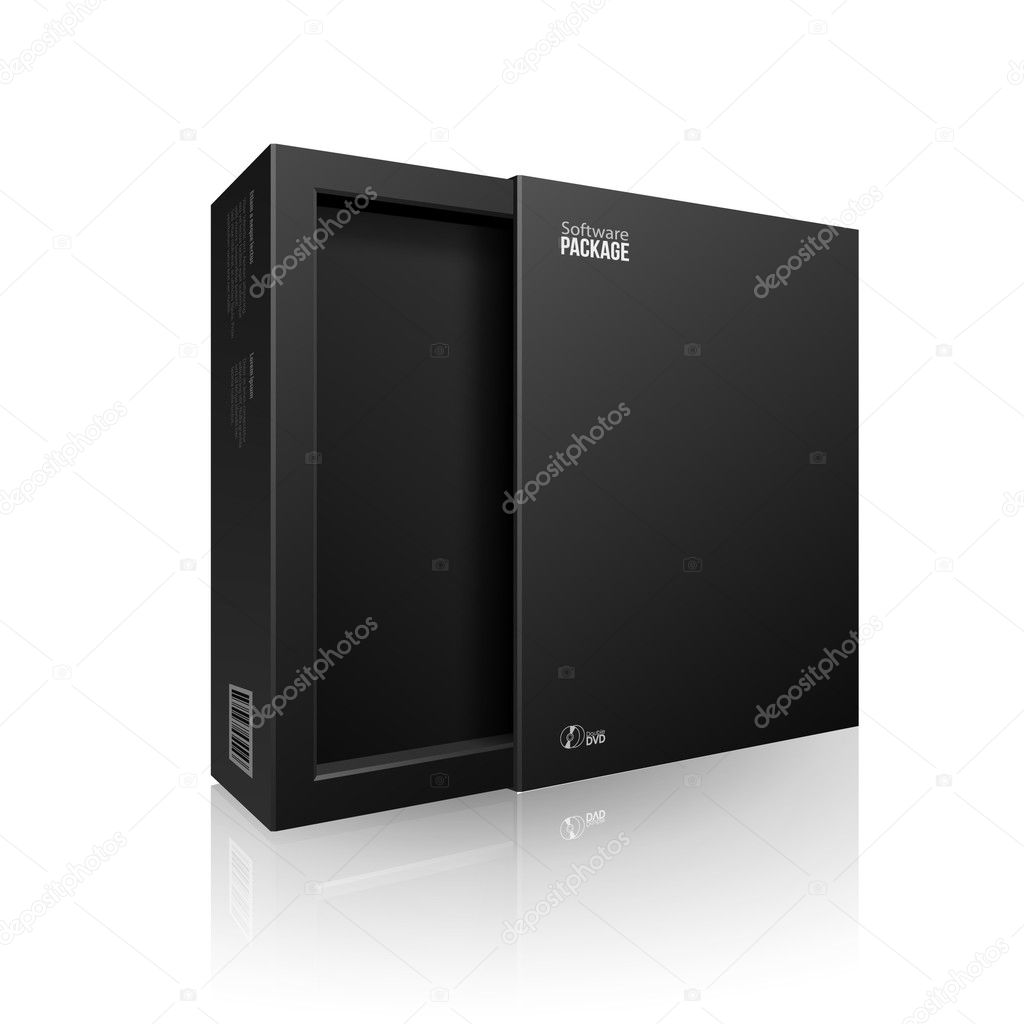 Opened Black Modern Software Package Box For DVD, CD Disk Or Other Your Product EPS10
