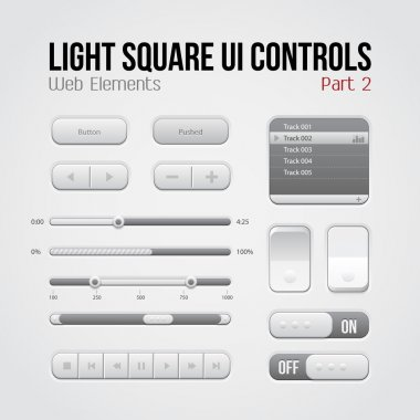 Light Square UI Controls Web Elements Part 2: Buttons, Switchers, On, Off, Player, Play List, Slider, Audio, Video: Play, Stop, Next, Pause, Volume, Equalizer, Arrows