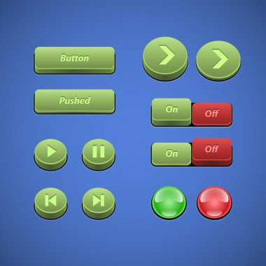 Raised Buttons Green And Red UI Controls Web Elements: Buttons, Switchers, On, Off, Player, Audio, Video: Play, Stop, Next, Pause, Arrows stock vector
