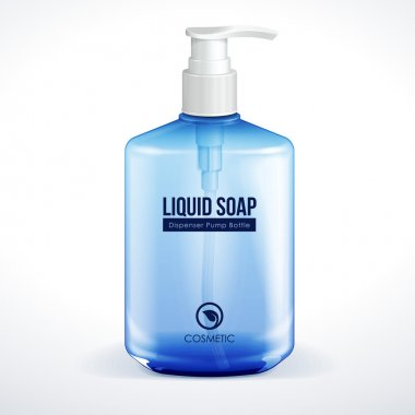 Dispenser Pump Cosmetic Or Hygiene Blue Glass Bottle Of Gel, Liquid Soap, Lotion, Cream, Shampoo. Vector EPS10