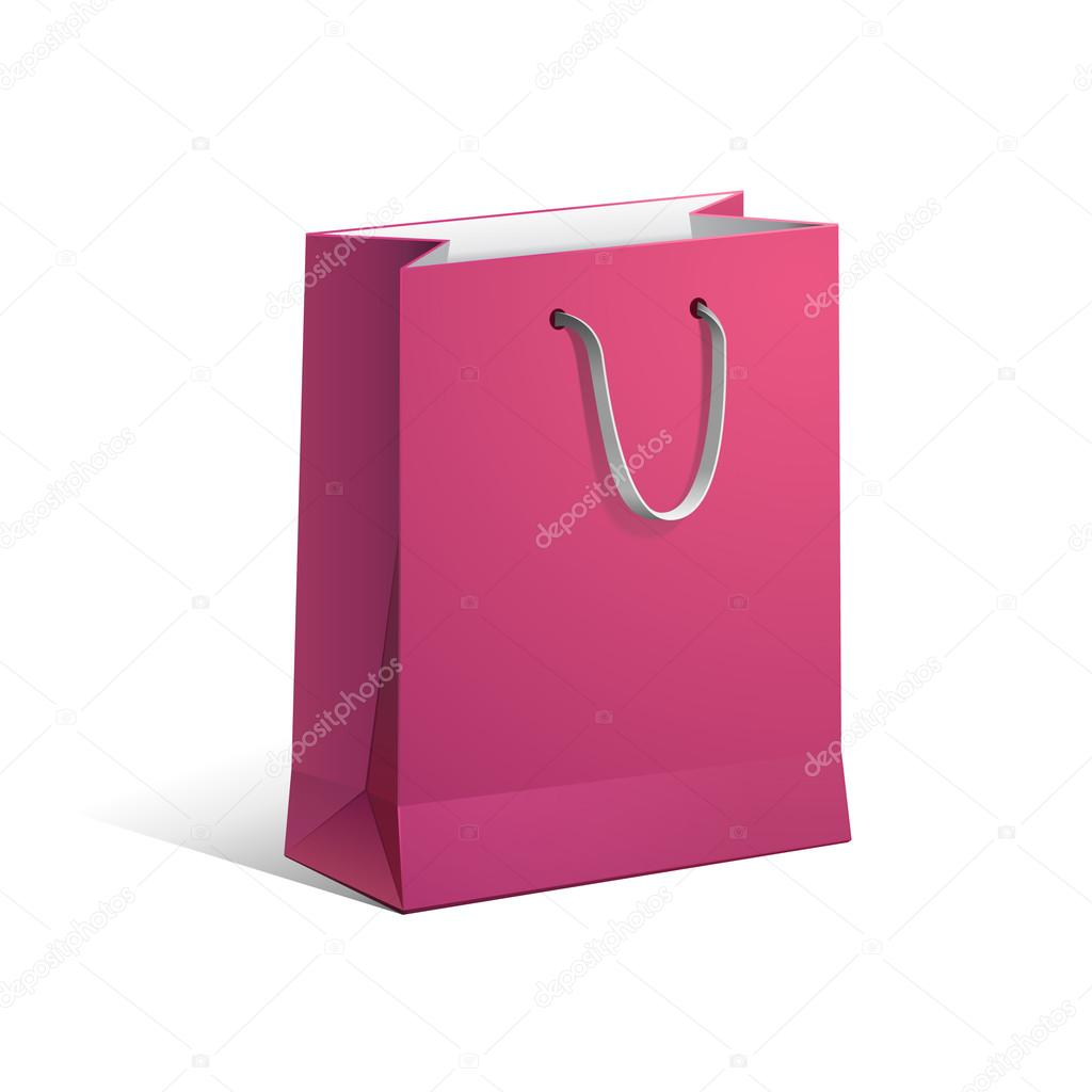 Carrier Paper Bag Pink Red Empty EPS10